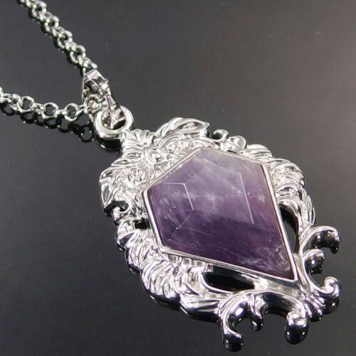 Natural Faceted Gemstone Crystal Healing Flower Shape Pendant Necklace