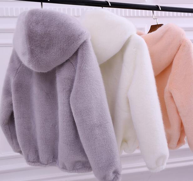 Femme fourrure de lapin veste à capuche parka courte vison fourrure hiver chaud Outwear Manteau Sz