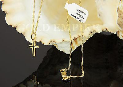 Damen/Herren Halskette mit Kreuz Anhänger 750er Gold/18 K vergoldet 1465