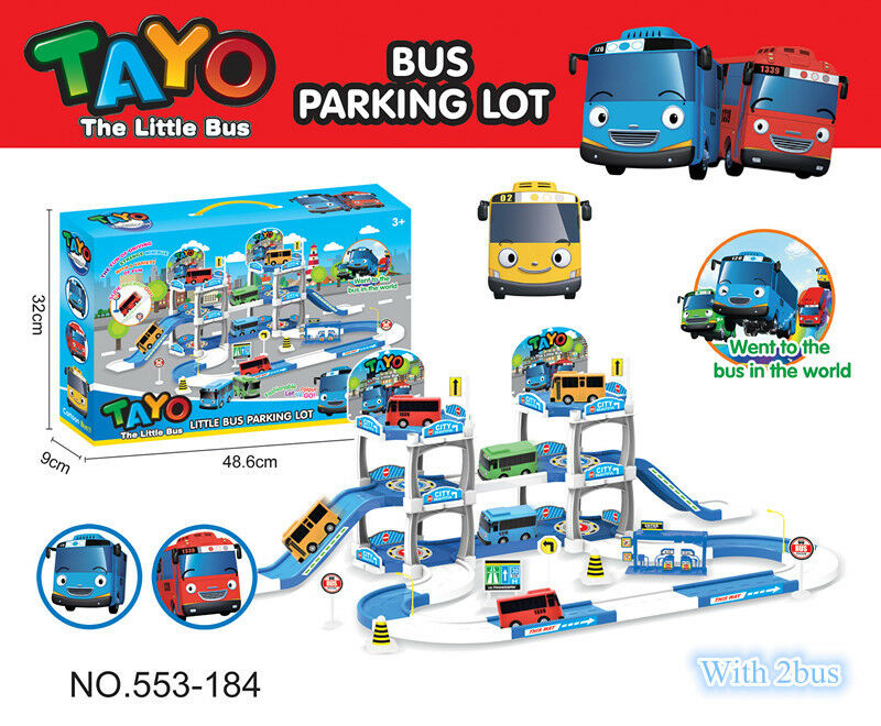 2019 New Tayo The Little Bus Tayo Bus Parking Lot Kid's Toy Car Set