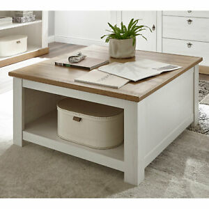 Details zu Couchtisch Landhaus Tisch in Pinie weiß und Eiche Wotan  Wohnzimmer Landhausstil