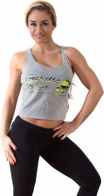 Gorilla Wear Womens Oakland Crop Tank Black//Neon Lime Camo Fitness
