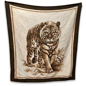 Biederlack-Walking-Tiger-Couch-Throw-Blanket-48-034-x-52-034-Reversible-Animal-Print