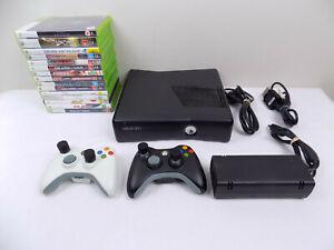 Like-New-Xbox-360-Slim-Console-250Gb-2x-Wireless-Controllers-15x-Games