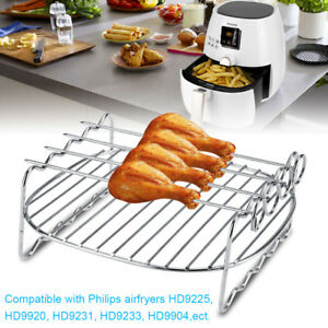 Stainless-steel-BBQ-Rack-Double-Layer-Skewer-Baking-Tray-For-Philips-Air-Fryer-H