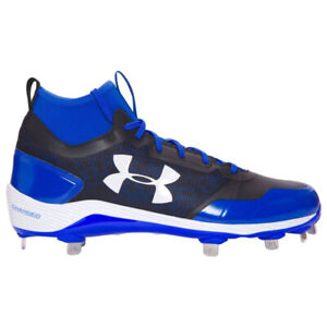 New Mens Under Armour Heater Mid St Baseball Cleats Blue