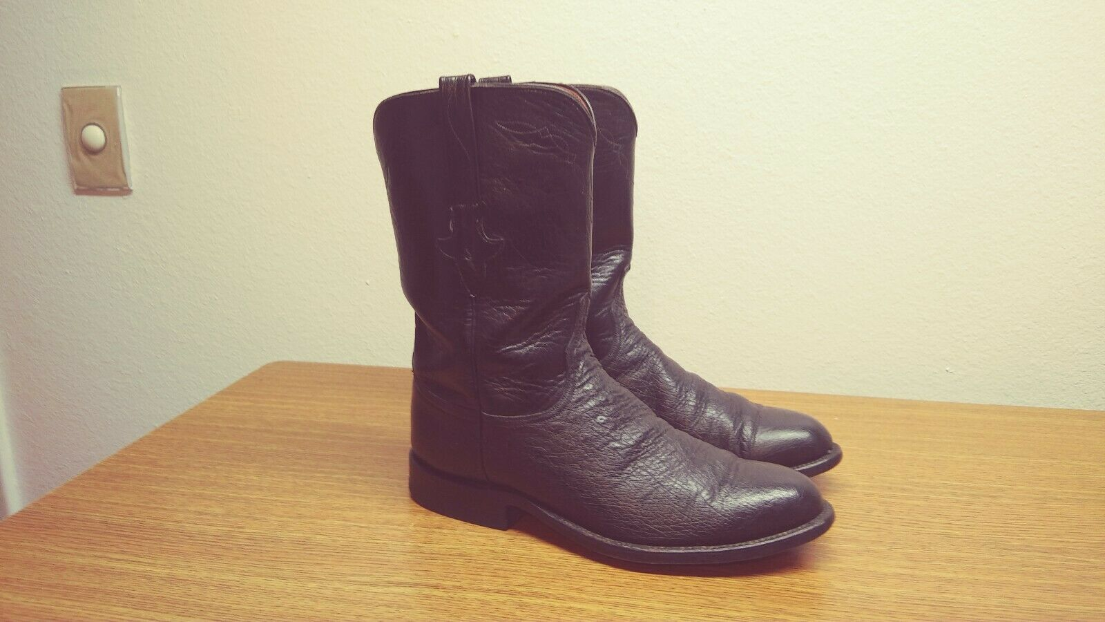Mens 8.5 D Lucchese Classics Handmade Black Exotic Ostrich Western Cowboy Boots