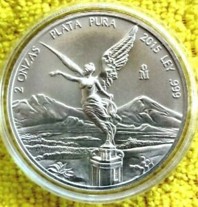 2015-2-oz-Silver-Libertad-2-Onzas-Plata-Pura-Bullion-Coin-in-Capsule-Mexico-Coin