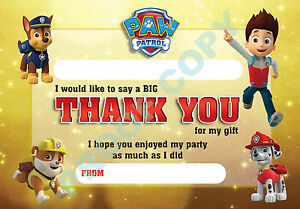 PAW-PATROL-Pack-of-10-THANK-YOU-CARDS-Kids-Children-birthday