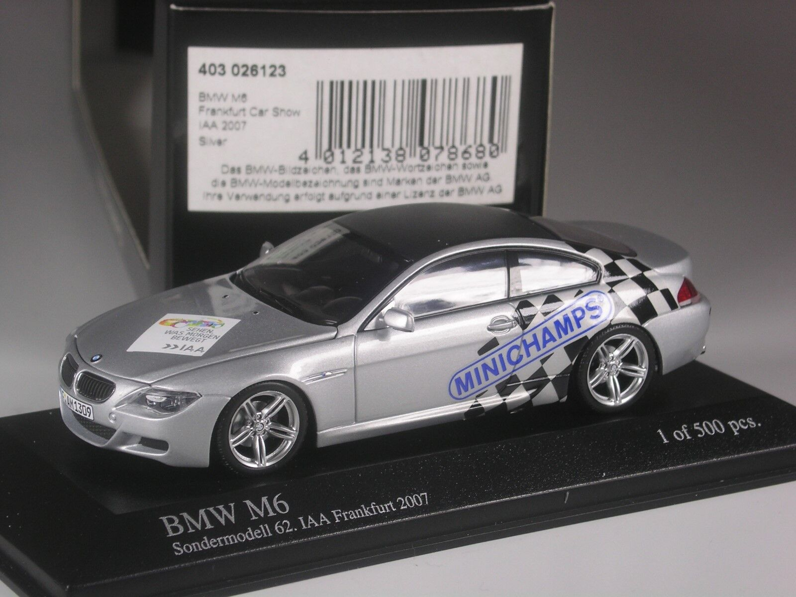 Rarity  Minichamps BMW m6 Coupé to IAA Frankfurt 2007 in 1 43 BNIB