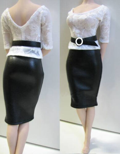 "1//6 Office Lady Lace Top Leather Long Slim Black Skirt F 12/"" Hot Girl Figure Toy"