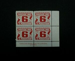 Canada Stamp #J26. MNH. Postage Due Block. (1967) 4x6¢. (Lower Right)