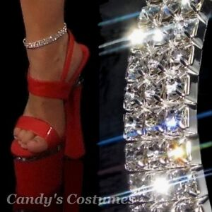 3-Row-RHINESTONE-crystal-ANKLET-silver-SPARKLE-bling-SEXY-deb-FORMAL-jewellery