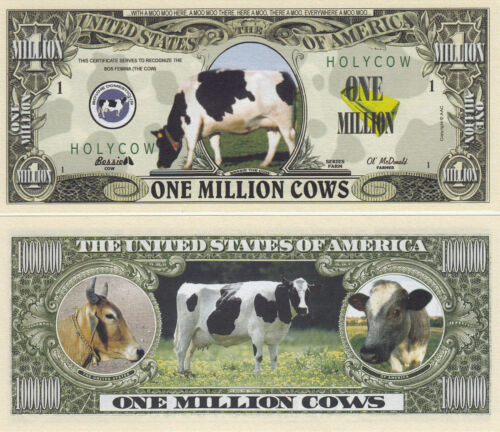 50 Cows One Million Dollar Novelty Bills # 321