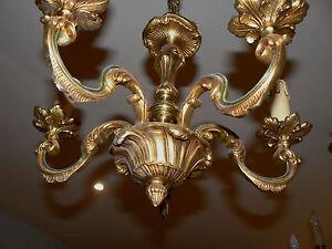 100% Vrai Lustre En Bronze Dore 5 Branches Eclairage Style Lxv Niii