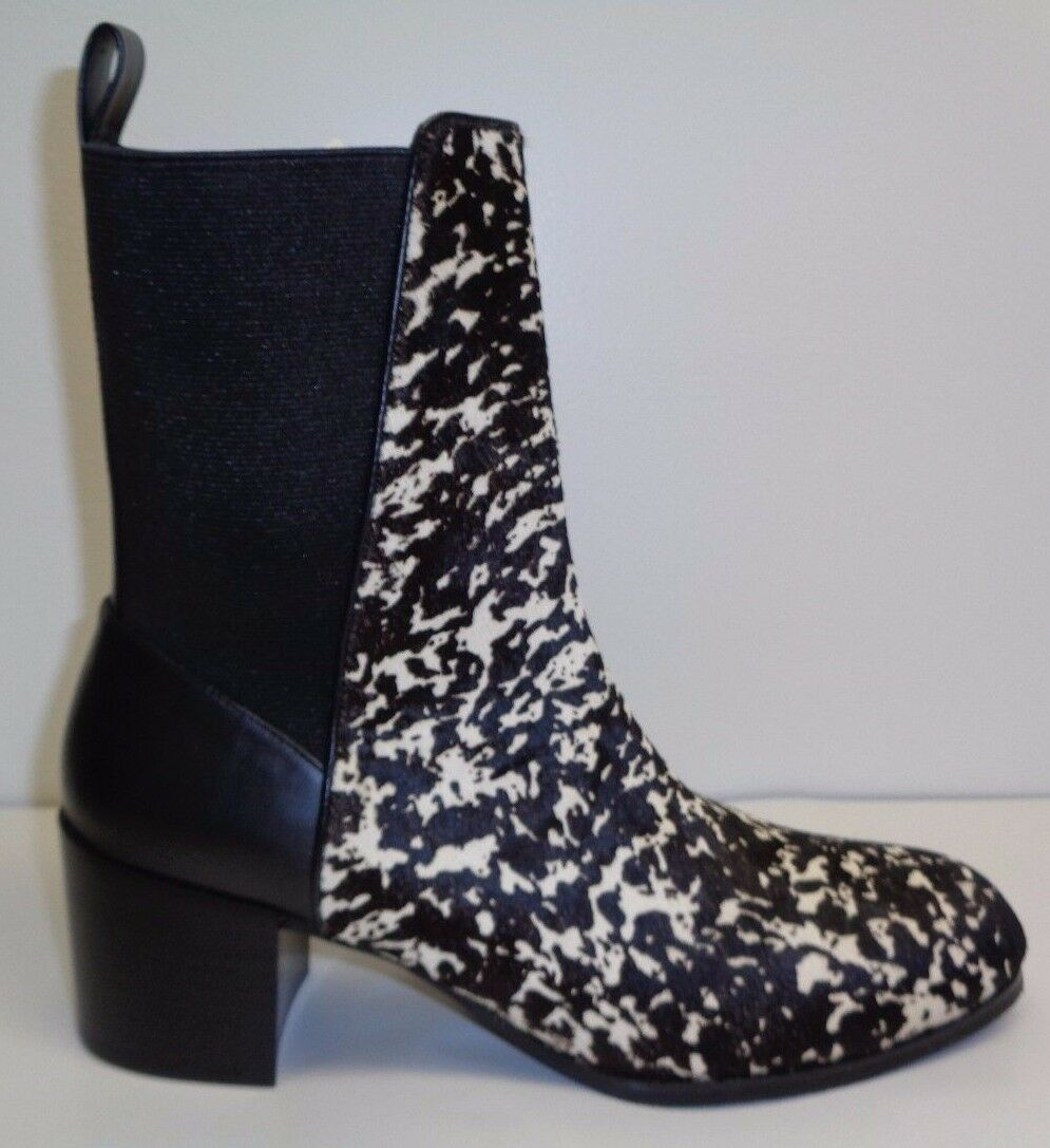Adrianna Papell Size 9 M BLAIR Black Leather Fur Ankle Boots New Womens shoes