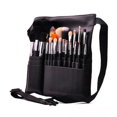 Professional Black 23pcs Makeup Brush Set with Makeup Brush Belt Strap Holder