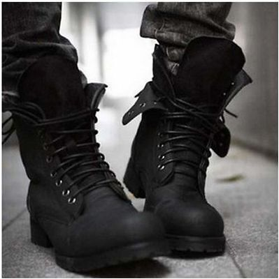Fashion Mens Black Lace Retro Combat Military Motor High Top Leather Ankle Boots