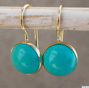 14K-Solid-Yellow-Gold-8mm-Turquoise-Round-Earrings-Handmade-Holiday-Sale