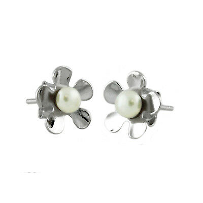 Sterling Silver 925 Sakura Cherry Blossom Stud Earrings