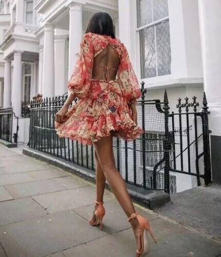 Sin Espalda Verano Floral Vestido Mini roja volantes ocasión Diseñador Estilo