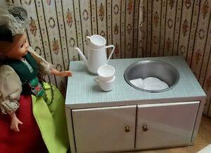 sp lschrank f r die gro e puppenk che holz resopalk che puppenstube sp le k che ebay. Black Bedroom Furniture Sets. Home Design Ideas