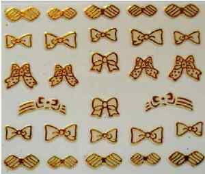 3D-Nail-Art-Decals-Transfer-Stickers-French-Gold-Bows-3D6010