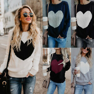 Womens-Long-Sleeve-Sweater-Blouse-Ladies-Knitted-Heart-Jumper-Pullover-Tops-US