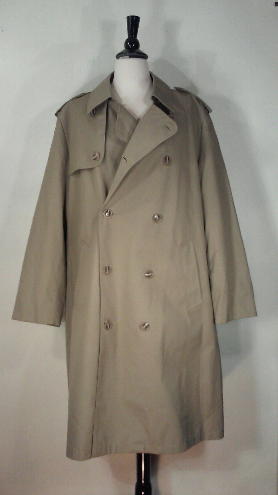 Misty Harbor Trench Coat Double Breasted Tan Zip Lining Belt Men's Size 42R