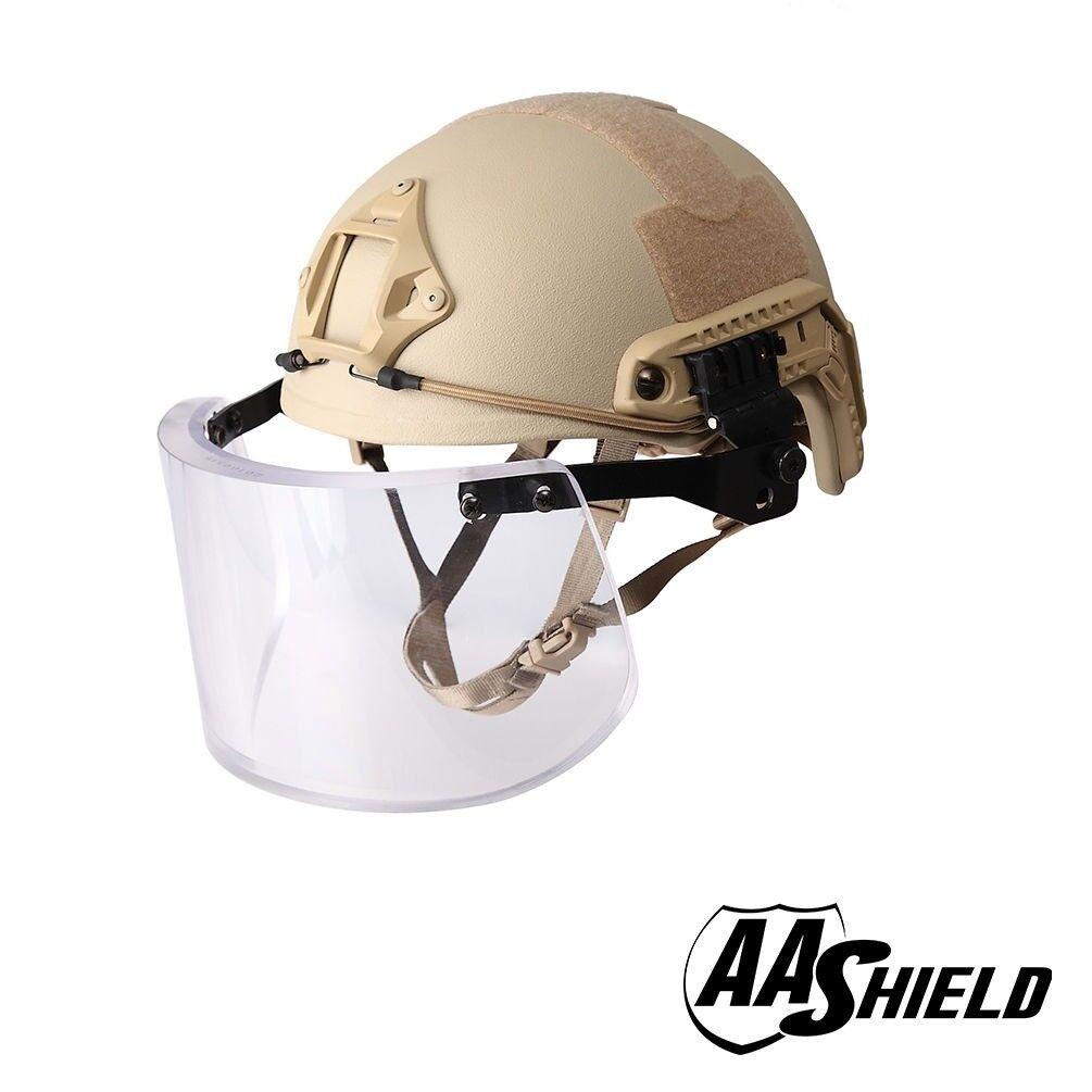 AA Shield Ballistic Tactical Helmet Bulletproof Glass Mask Lvl IIIA Kit TAN