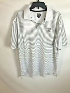 Adidas-Climacool-Mens-Golf-Polo-Shirt-Size-Large-Striped-Polyester-Short-Sleeve