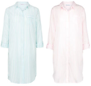 Striped Nightshirt Womens Slenderella 100% Cotton 3 4 Sleeved Button ... c47e63d61