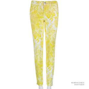 Stella-McCartney-Yellow-White-Flower-Pattern-Skinny-Fit-Zipped-Hem-Jeans-W27