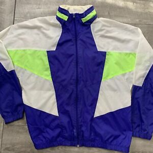 Vintage-NIKE-Windbreaker-Nylon-Full-Zip-Jacket-Mens-Blue-White-Lime-Green