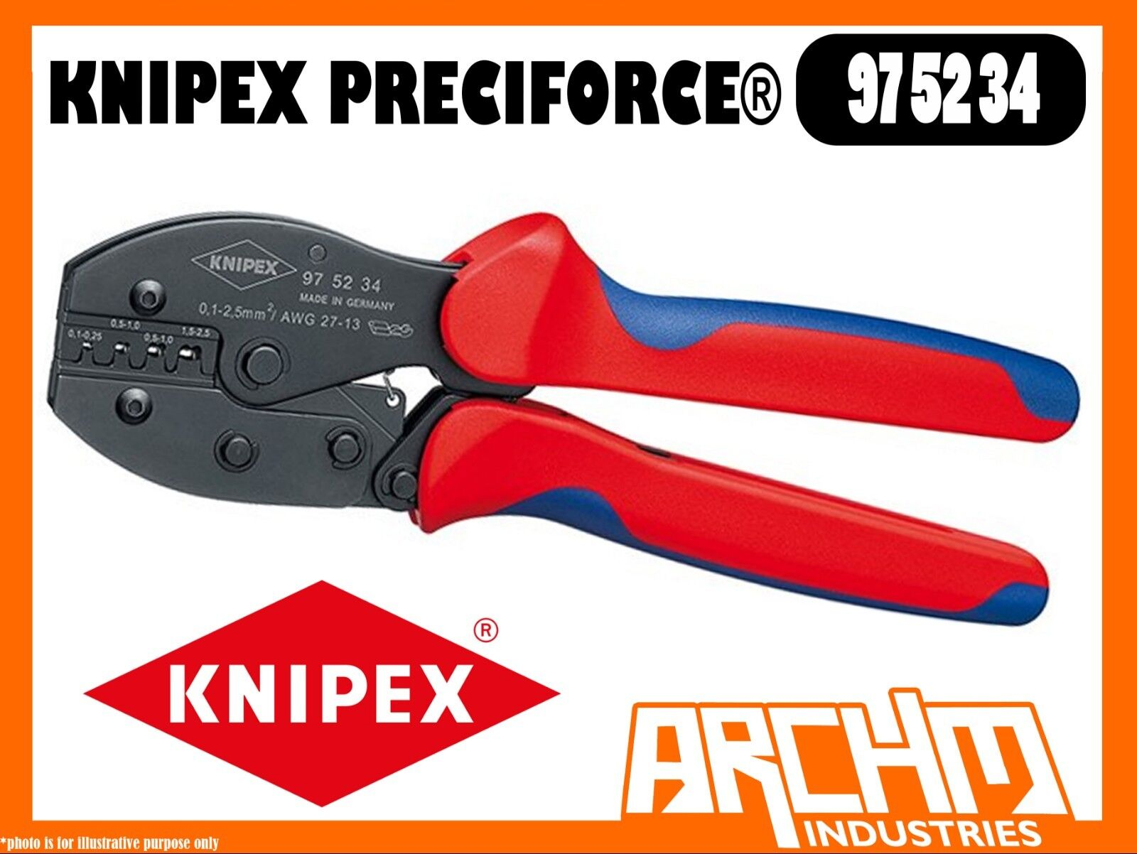 KNIPEX 975234 - PRECIFORCE CRIMPING PLIERS 220MM - PRECISION DIES F-CRIMP