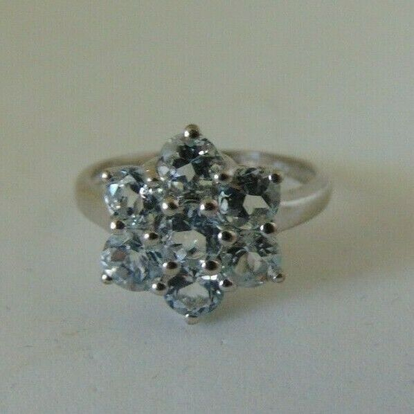 Sterling CZ Flower Ring Size 5.5 to 6