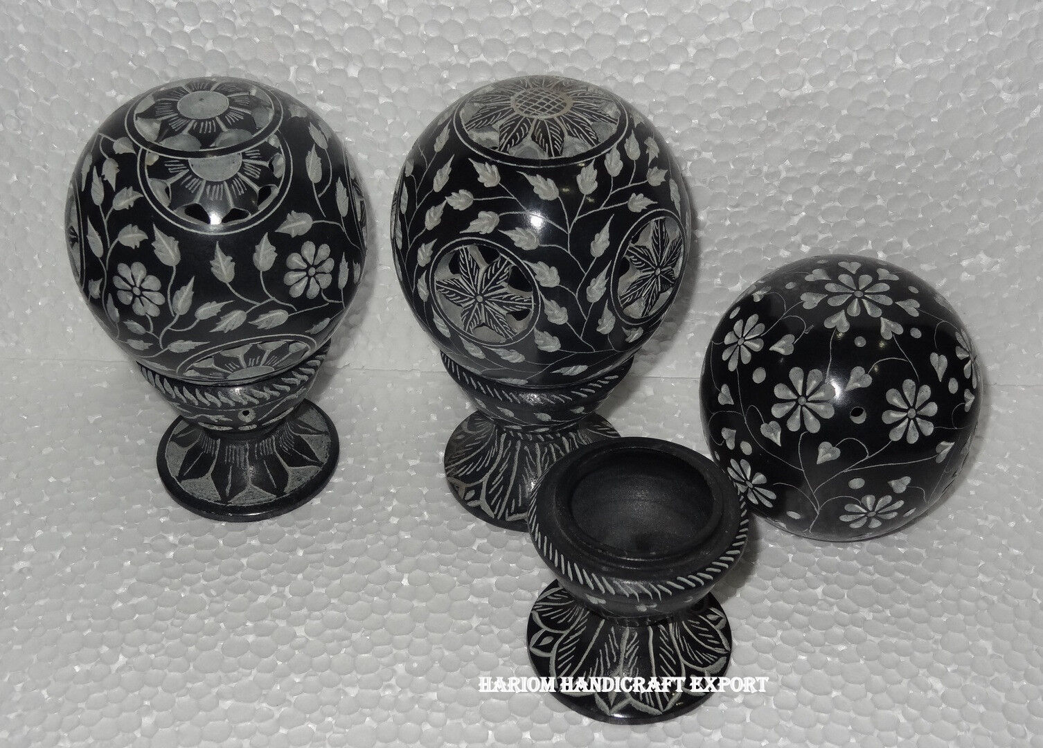 Lote de 3 Soporte de Vela de mármol negro mármol lámparas del aroma Flor Arte Decoración Del Hogar