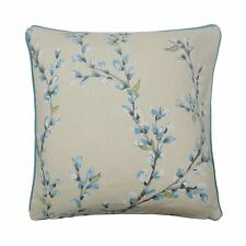 "FLOWERS VINES DUCK EGG BLUE WHITE PIPED 100% COTTON 17"" - 43CM CUSHION COVER"