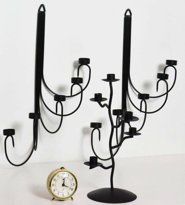 A SET OF Vintage Crafted Iron Wall hanging and Stand Candle Holders