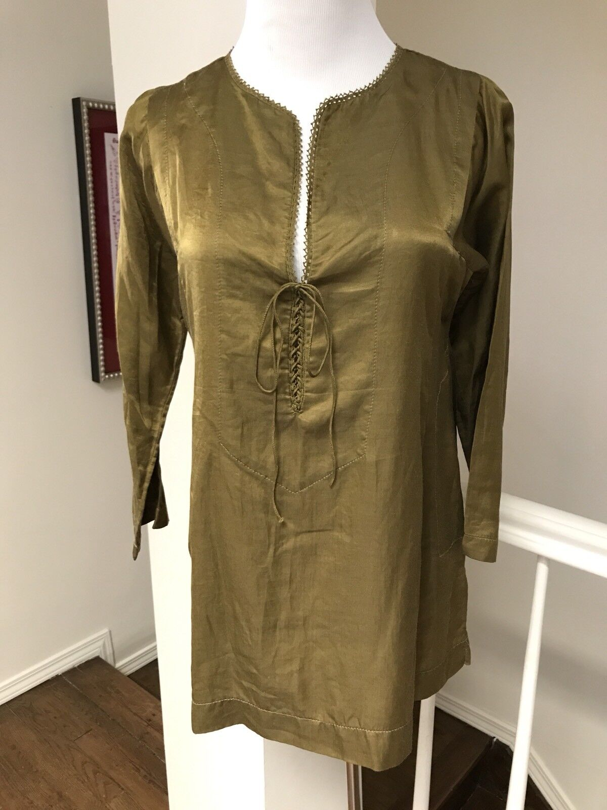 Dosa Cotton Silk Sateen Tunic Olive Green, Size 2 S M