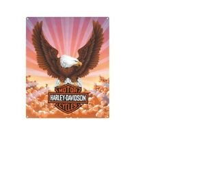 Harley Davidson Eagle with Clouds Die Cut embossed Tin Sign
