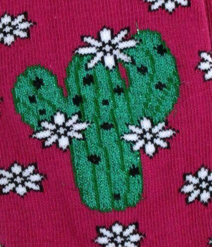 LADIES GLITTER MEXICAN MAGENTA CACTUS CACTI SOCKS UK 4-8 EUR 37-42 USA 6-10