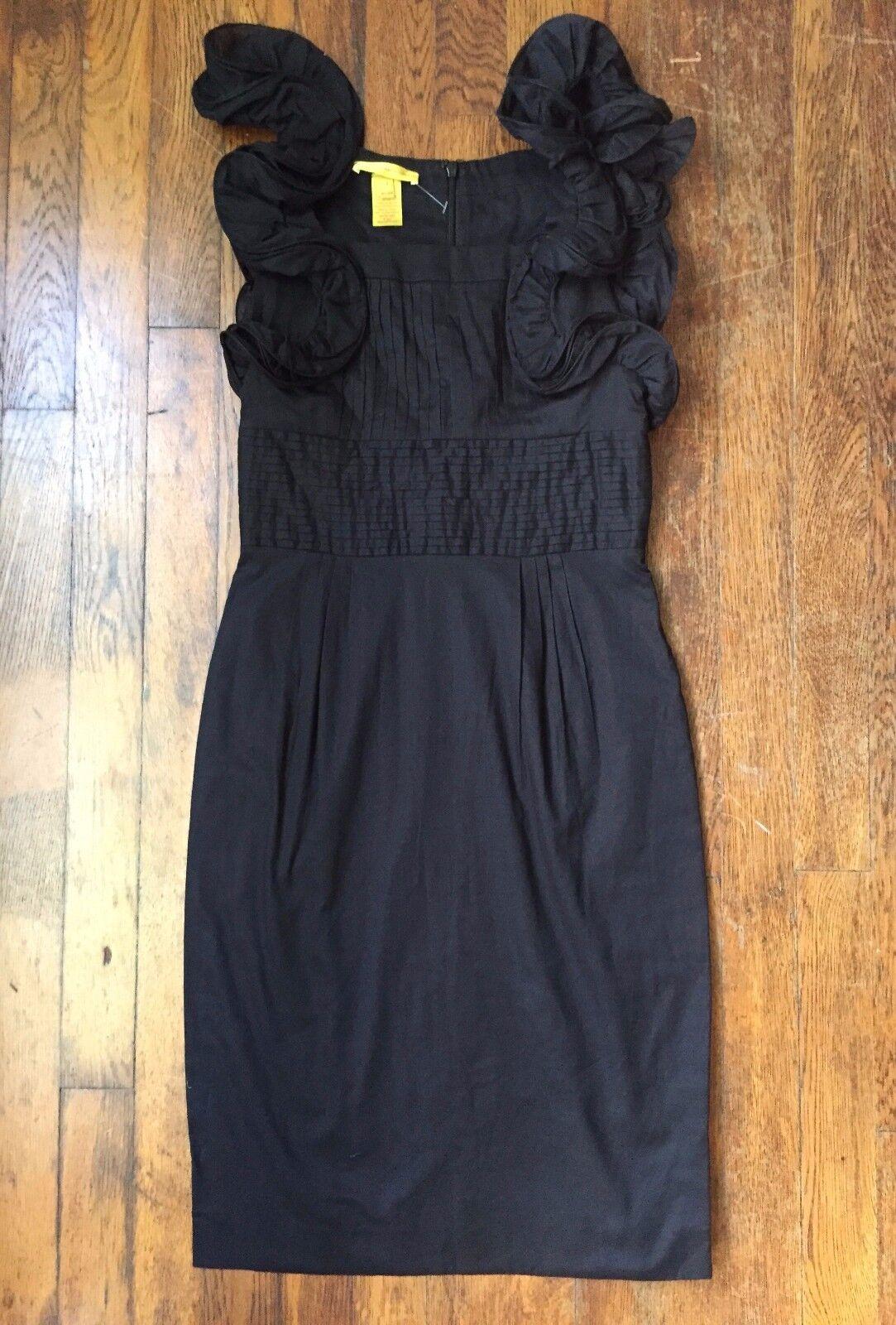 Catherine Malandrino schwarz Ruffled Sleeve Sheath Mini Cocktail Dress Sz 0 RARE