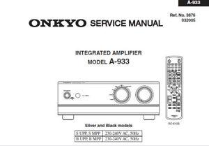 onkyo a 933 integrated stereo amplifier service manual inc rh ebay ie