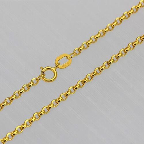 FINE 18 INCH Solid 18K Yellow Gold Necklace 2mm Rolo Link Chain Necklace Au750