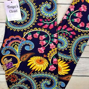 NEW-PLUS-Bright-Floral-Paisley-Leggings-Buttery-Soft-Curvy-10-18-TC