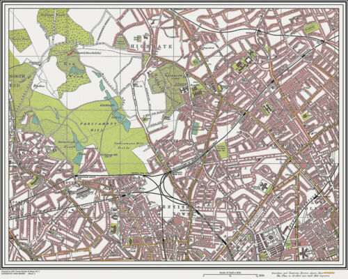 Old, Hampstead, Holloway Map London 1908 #5 Repro