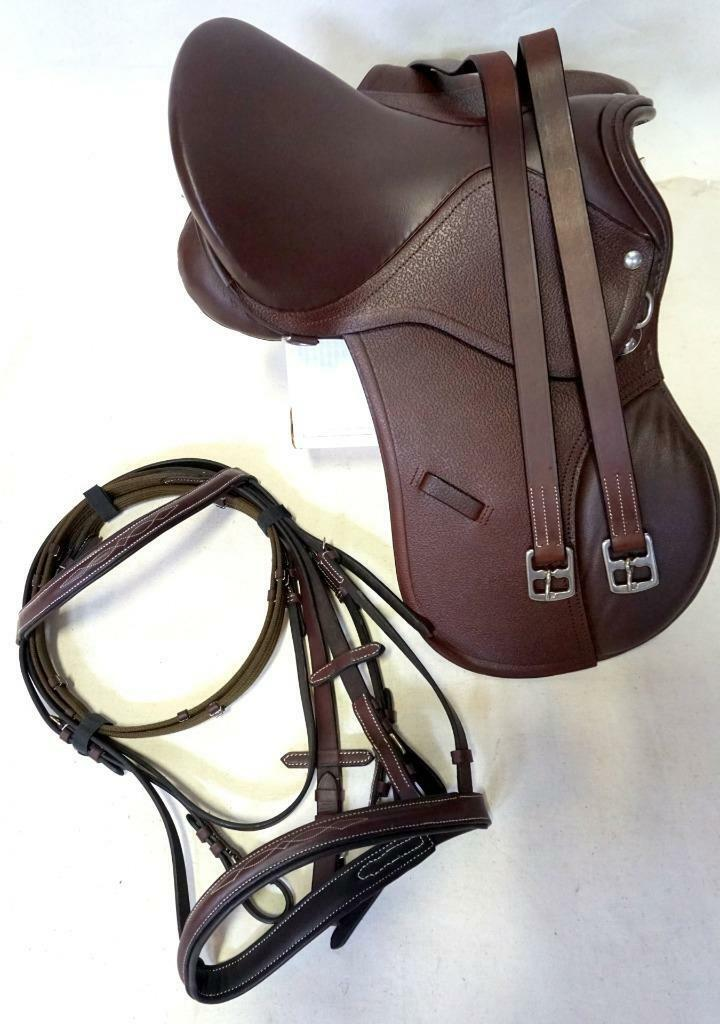 14  15  Rich Brown EngLish SaddLe  HuNt JuMp A.PurPoSe Leathers 48  + PONY Bridle  the newest brands outlet online