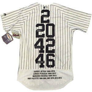 brand new efb45 2f22a Details about Yankees core 4 signed jersey Derek Jeter Rivera Pettitte  Posada auto Steiner /27
