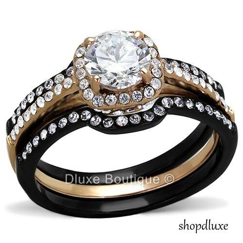 1.75 CT HALO ROUND CUT CZ BLACK STAINLESS STEEL WEDDING RING SET WOMEN/'S SZ 5-10